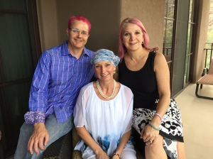 sporting the Pink Hair in Aupport of our patient